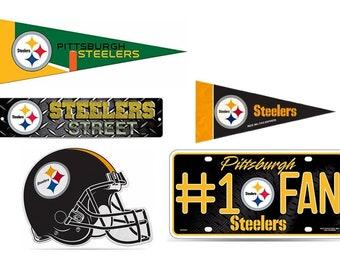 "Pittsburgh Steelers Fan Pack Set Includes Mini Pennant 4"" x 9"", Small Pennant 5"" x 15"", 1 Fan License Plate, Die Cut Helmet, & Steet Sign"