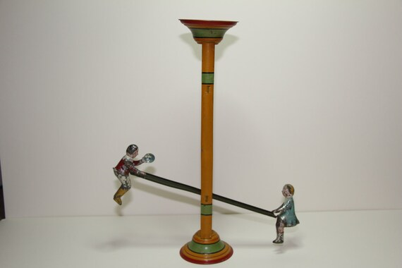 Early 20th Century Gibbs Perpetual See Saw Teeter Totter Tin Toy