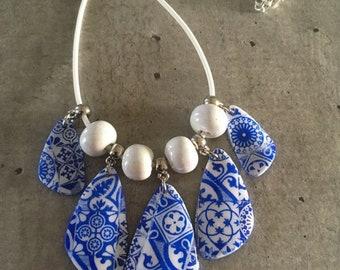 """Ras de cou pendentif """"carreaux de ciment, bleu et blanc"""" - nouvelle collection"""
