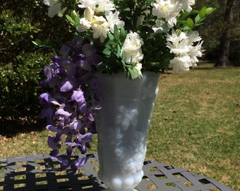 Milk Glass Grape and Ivy Footed Vase