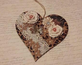 Handmade animal print decorated heart