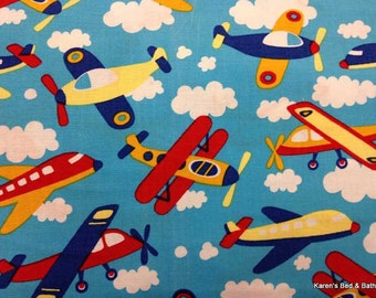 Airplane Fabric with Airplanes By Yard or Half Yard Blue Sky Clouds Jet Planes Boy Fabric Cotton Quilting Fabric t5/19