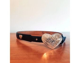 Vintage Western Black Leather / Silver Heart shaped concha Belt
