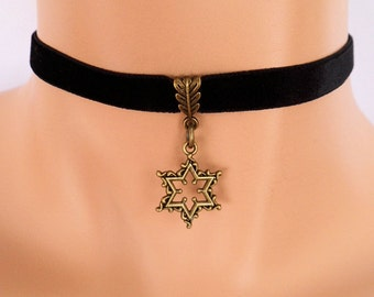 star choker, black velvet choker, star necklace, stretch ribbon