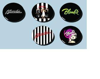 """Blondie 80s New Wave Pins!! 1 1/2"""" Set of 5!!"""