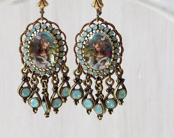 Angel earrings, seafoam earrings, sea opal earrings, shabby aqua, baroque angel, baroque earrings, gypsy earrings, pale aqua, romantic gift