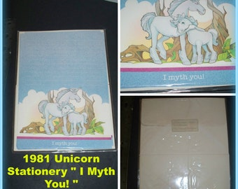 "1981 Unicorn "" I Myth You ! "" Sunshine Factory Writing Stationery Paper with Envelopes / 10 sheets with 10 envelopes Vintage Note Paper SET"