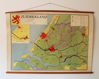 REDUCED due to damage: School map Vintage Pull Down Map South Holland Province of The Netherlands