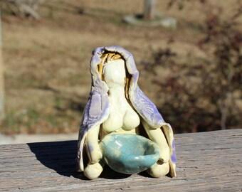 Cloaked Goddess Figurine - purple
