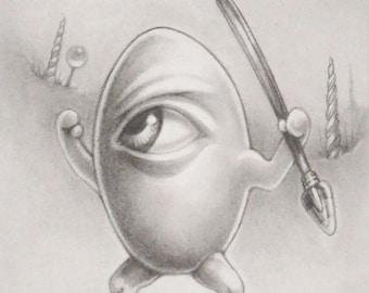 The Warlike Eggman, Denizens of Candyland print by Angel Hawari, pop surreal art
