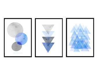 Prints set, Abstract Watercolor Blue, Set of 3 prints, Scandinavian art, Abstract prints, Large wall art Geometric prints, Minimalist poster