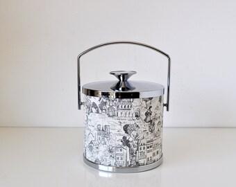 Vintage Ice Bucket Serv-Master Black White City Scene