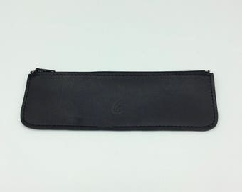 Flat black leather case