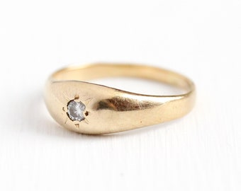 Antique Diamond Ring - 14k Rosy Yellow Gold Gypsy Set .05 Carat Band - Vintage 1930s Size 5 Incised Star Solitaire Wedding Band Fine Jewelry