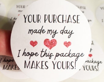 Small business thank you stickers. Made my day labels. Happy mail, happy post, laser printed. 45mm round stickers. Heart branding stickers