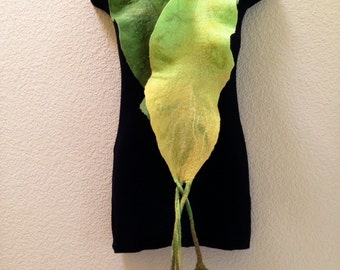 Felted Ruffle scarf green yellow merino wool viscose silk felt felting leaves hand made gift for any occasion