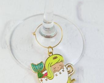 Mermaid Teacup Wine Charm