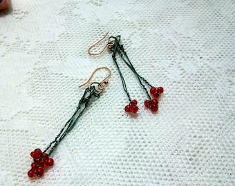 "Earrings  "" Cherries "" Dangle Earrings, Green coated Copper Wire, Red Beads"