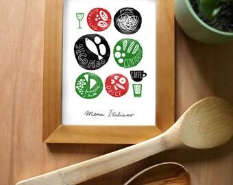 "Art for kitchen MENU ITALIANO 8.3"" x 11.7""  Italian food, Kitchen Art Print - Reproduction From Original Illustration"