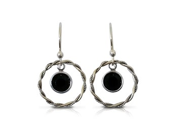 Boho Earrings, Sterling Silver Hoop Earrings, Black Drop Earrings, Dangle Earrings, Crystal Earrings, Dainty Earrings, Gifts, Birthday Gift