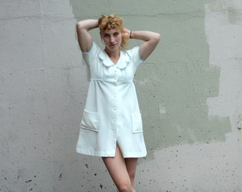 Vintage 1960s Mini Dress // 60s 70s White Babydoll Dress with Powder Blue Trim // Puff Sleeve Button Down Dress