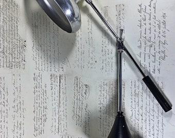 Working Vintage Adjustable  Desk Lamp Spun Aluminium Shade & Chrome Arms office industrial mid century