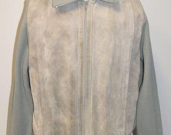 Vintage DESIGNER GINO PAOLI 1970's Men's Gray Suede Sweater jacket - Size L