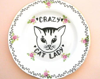 Crazy Cat Lady Ornamental Floral Vintage Plate Pretty Pink Animal Lover Saucer Decorative Wall Art Upcycled Funny Gift for Her Birthday