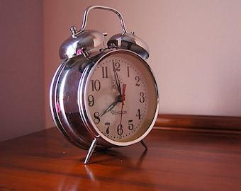 Large vintage metal mechanical alarm clock Acctim, vintage alarm clock, table clock.
