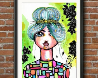 Clarissa - Original Watercolor Abstract Bohemian Woman Goddess butterfly boho portrait Painting