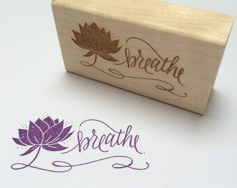 Breathe Lotus Flower Stamp - yoga rubber stamp