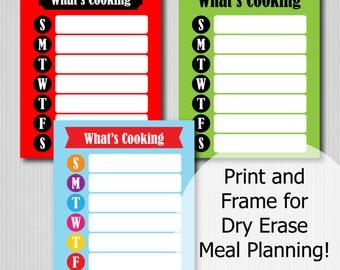 Meal Planning Board - Menu Board - Printable