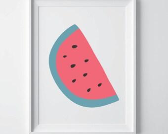 Watermelon print, fruit print, watermelon art, kitchen print, kitchen decor, watercolor print, watermelon poster, fruit art wall art