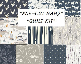 Baby Boy Quilt Kit, Woodland Nursery, Quilting Cotton, Quilting Squares, Teepees, Antlers, Elk, Navy Blue, Gray deer