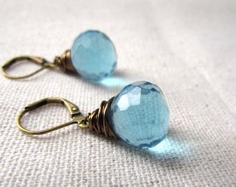 Baby Blue Earrings, Little Blue Earrings, Antiqued Brass, Vintage Style, Sky Blue Earrings, Wire Wrapped, London Blue, Everyday Wear