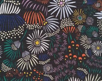 Evening Asters, The Floret Line by Cloud9 Fabrics, Multi-Colored Flowers on Black Semi-Sheer Batiste 100% Organic Cotton, Half Yard