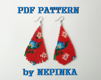 PDF Beadwork PATTERN.DIY Triangle earrings.Tassel,Fringe.Beaded earrings.Brick Stitch.Bead Weaving.Beadwoven jewelry.Seed beads.Tutorial