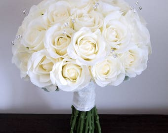 Large Bridal Bouquet with Diamantes. Bridesmaid Bouquet. All with Real Touch Roses