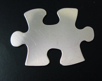 925 Sterling Silver Blank- Puzzle Piece Blanks, Charms ,Personalize Hand Stamping Pendant,Initial Charms- 31.5mm - 24 Ga (1 pc) SKU: 201092