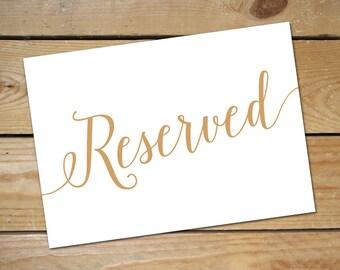 Printable Reserved Signs for Wedding // Wedding Reserved Table Sign // Reserved Wedding Sign, Caramel Gold Wedding