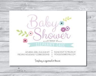 Baby Shower invitation, Floral Baby Shower Invitation, Digital Invitation, Custom Invitation, Flower Invitation