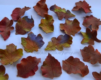 12 edible FALL AUTUMN LEAVES harvest trees season winter cake cupcake toppers decorations party wedding anniversary birthday