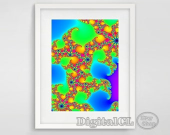 Printable wall art Abstract wall art Home decor Colorful Psychedelic printable art