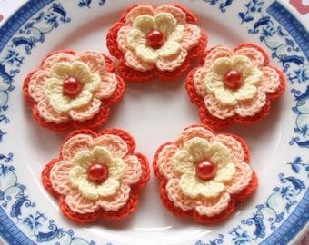 5 Crochet Flowers In Cream, Lt Peach, Orange  YH-031-05
