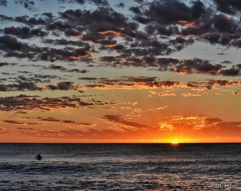 Sole Surfer - surf photography, sunset photography, canvas, art, sunset, surf, photography