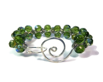 Olive Grove - Green Bracelet - Wire Wrapped Czech Glass Bead Bangle with Hammered Swirl Clasp - Olive/Silver - Mishimon Designs