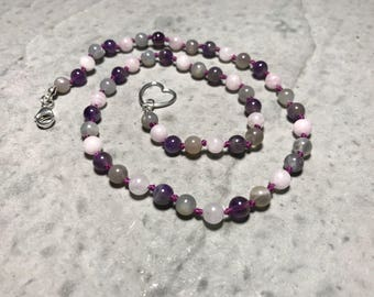 """18"""" Moonstone, Rose Quartz, Amethyst //  Adult Gemstone Beaded Necklace // Hand Knotted // Sterling Silver Findings"""
