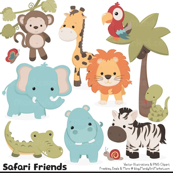 cute vintage jungle animal clipart cute safari clipart rh etsy com cartoon safari animals clipart gold safari animals clipart