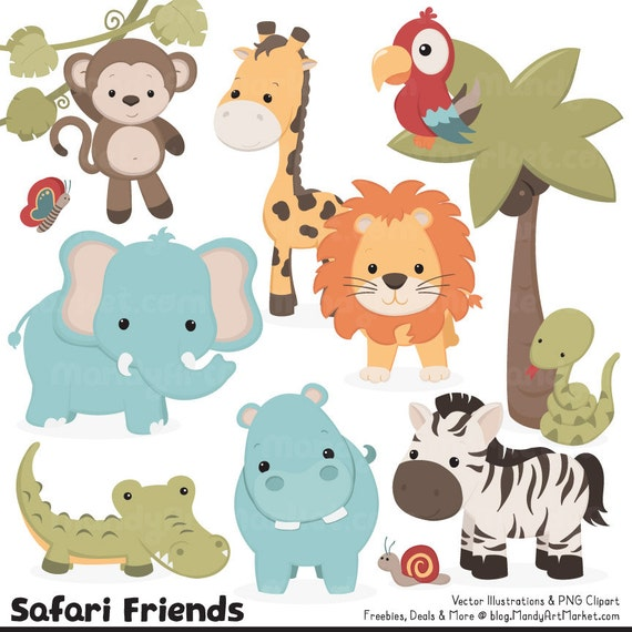 cute vintage jungle animal clipart cute safari clipart jungle rh etsystudio com safari animal clip art free safari animal clipart black and white