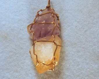 Amethyst & Citrine Wire Wrapped Crystal Pendant